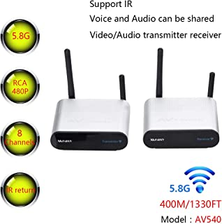 measy AV540 8 Channels AV RCA Sender Wireless Audio Video Transmitter and Receiver with IR Remote Control 1080P 3D to HDTV Projector
