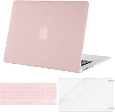 MOSISO Plastic Hard Case & Keyboard Cover & Screen Protector Only Compatible MacBook Air 13 Inch (Models: A1369 & A1466, Older Version Release 2010-2017), Rose Quartz