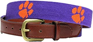 Clemson Needlepoint Belt in Purple by Smathers & Branson