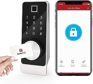 قفل جلو درب قفل هوشمند Geek - قفل درب ورودی بدون کلید ، اثر انگشت بیومتریک و صفحه لمسی با کنترل از راه دور APP ، قفل خودکار برای خانه ها / دفاتر / هتل ها (L-F504 Sliver)