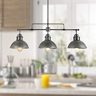 Log Barn Industrial Kitchen Pendant Linear Chandelier Brushed Antique Silver Metal Finish, 3-Light Rustic Lighting, 35.7