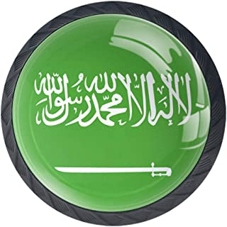 Pomos redondos para cajón 4 paquetes de tiradores de 35 mm con bandera redonda Arabia Saudita utilizados para dormitorio...