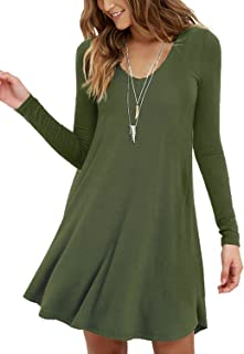 MOLERANI Women's Long Sleeve Casual Swing Simple T-Shirt Loose Dress