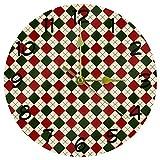 Eslifey Reloj de pared con diseño de cuadros navideños de acrílico, redondo, no hace tictac, funciona con pilas, para el hogar, la oficina, el colegio