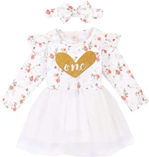 Baby Girl One-Piece Dress Toddler Floral Heart One Long Sleeve Dresses Tutu Ruffled Skirt Outfits with Bowknot Headband
