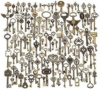 Figurines Miniatures - Retro 130pcs Antique Vintage Old Look Bronze Ornate Skeleton Keys Lot Necklace Pendant Fancy Heart - Chain Antique Figurines Key Decor Key Wire Souvenir Keychain Chain Ol