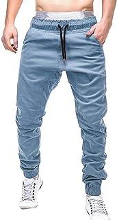 BOBOYU-Men Casual Leaf Printed Drawstring Cotton Linen Loose Jogger Pants Sweatpants