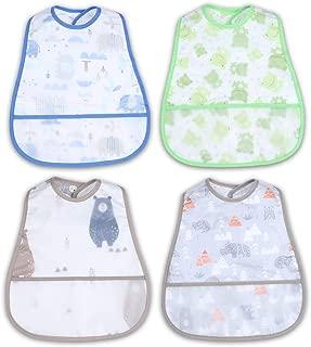 食事用エプロン ベビー 離乳食 スタイ 赤ちゃん 離乳食エプロン 袖なし ポケット付き 保育園 汚いにくい 洗いやすい 乾きやすい 4枚セット (男の子)