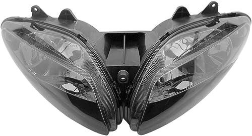 Mallofusa Motorcycle Front Headlight Headlamp Assembly Compatible for Yamaha YZF R1 2002 2003 Smoke Lens