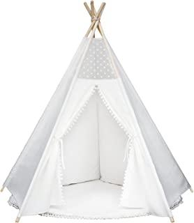 Wonder Space Princess Teepee Pompon Fairy Tent - 5' Large Handcrafted White Lace Pom Pom Cotton Canvas Play Tent Kids Playhouse, Five-Sided Walls with Door and Window