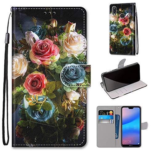 Miagon Flip PU Leder Schutzhülle für Huawei Y6 2019,Bunt Muster Hülle Brieftasche Case Cover Ständer mit Kartenfächer Trageschlaufe,Blühen Blume