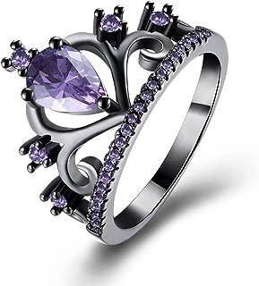 Womens Black Gold Plated Purple Amethyst Cubic Zirconia CZ Princess Crown Tiara Ring Wedding Band