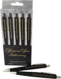 Offensive Office Stationary - Pack of 5 Pens - Fun Novelty Insulting Pens