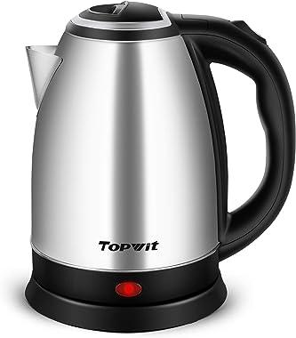 Topwit Electric Kettle Hot Water Kettle, Upgraded, 2 Liter Stainless Steel Coffee Kettle & Tea Pot, Water Warmer Cordless wit