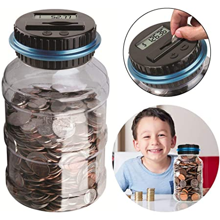 Digital LCD Counter Electric Pound Coin Piggy Bank Money Saving Collecting Jar