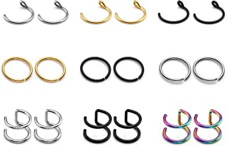 PiercingJ 18pcs Stainless Steel 16G 20G Nose Rings 8mm Hoop Faux Nose Studs Ear Helix Cartilage Tragus Daith Lip Labret Eyebrow Ring Captive Ring Body Piercing Jewelry