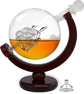 FORYOU24 Whiskykaraffe im Globus Design - Weltkugel Dekanter aus Glas mit Segelschiff Dekor - Scotch Decanter - Geschenk für Männer - 850ml - Hergestellt in Handarbeit