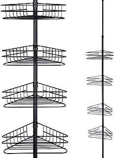 4 Niveaux en Métal Salle de Bain Télescopique Coin Douche Étagère Rack Bain Douche Rangement Organisateur Porte-Savon Noir