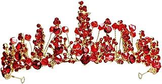 RKY Ragazze Corona, for Bambini Fiore Corona Copricapo Rosso Girl Accessori Capelli Principessa Crystal Crown Ragazza di C...