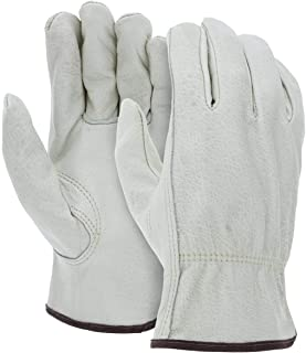 12 Pairs Heavy Duty Durable Cowhide Leather Work Gloves I Driver Gloves for Truck Driving, Warehouse, Gardening, Farming I Ideal use for Construction, Industrial & Personal Use (Large - 12packs)