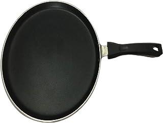 Sartén gruesa antiadherente para crepes, tortitas, sartén, plancha, Dosa Tawa, artículos de cocina, estilo indio, sartén redonda antiadherente, tava, grosor de 4mm (negra)