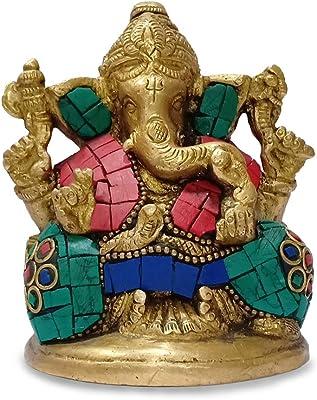 Collectible India Ganesh Bhagwan Murti Idol Ganesha Statue Ganpati Murti for Home Entrance Decor Diwali Gift Decorate with Multicolored Stone Idol Good Luck & Success