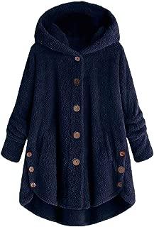 Leomodo Plus Size Women Hooded Lambs Asymmetrical Hem Jacket