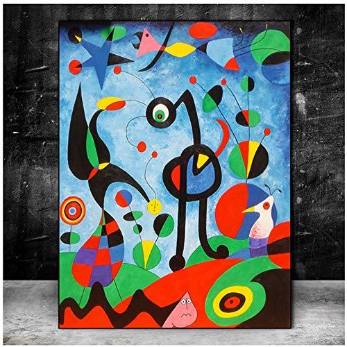 W15Y8 Pintura Famosa El Jardín 1925 De Joan Miro Pinturas Abstractas En Lienzo Cuadros De Pared Cuadros Decoración De La Pared Del Hogar-60X90Cm Sin Marco