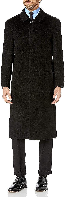 Prontomoda Men's Single Breasted Black Luxury Wool/Cashmere Full Length Winter Topcoat