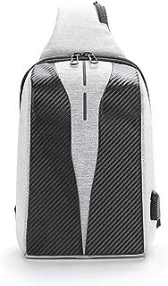 Men's Outdoor Chest Bag, Casual Sports Large-Capacity Shoulder Bag, USB Charging Messenger Bag,Gray