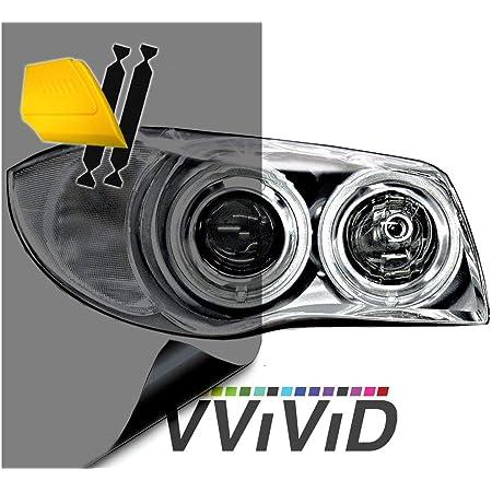 "VViViD Smoke Black Gloss Vinyl Headlight Foglight Transparent Tint Wrap Self-Adhesive (16"" x 48"" w/ Detailer and Felts)"