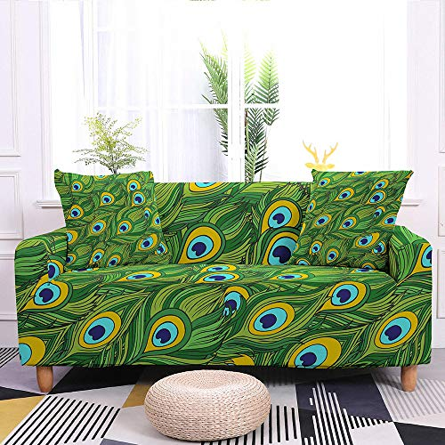 Slipcover Sofa Cover,Super Stretch Couch Cover Creative Green Peacock Feather Print Washable Microfiber Sofa Covers For Armchair Loveseat Living Room Furniture Protector Friendly,M:140,180Cm(55,71In