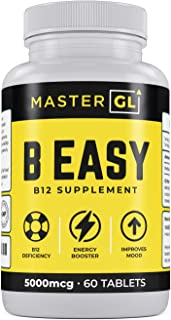 B Easy - Vitamin B12 Supplement Methylcobalamin 5,000mcg – Methylated for Maximum Absorption, Cyanide-Free Formula – Supports Natural Energy Levels, Healthy Heart, Brain, Nervous System 60-Day Supply