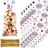 Chuangdi 100 Pack Baseball Party Cello Bags Cellophane Bag...