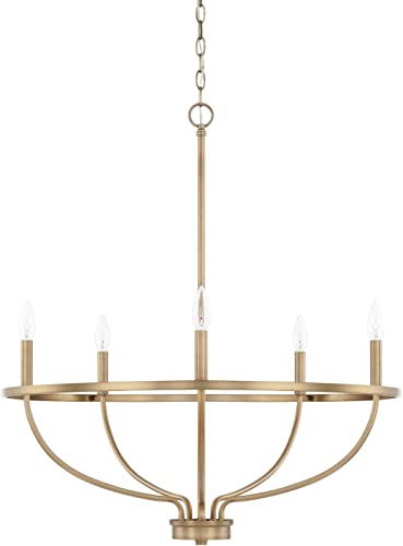 2021 HomePlace 428551AD Greyson Chandelier, 5-Light 2021 300 Total sale Watts, Aged Brass sale