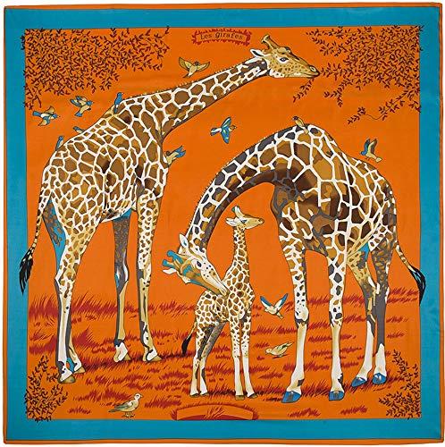 HAIHF sjaal voor dames, met basis-dier-giraf-patroon, grote vierkante satijnen hoofddoek 130 x 130 cm