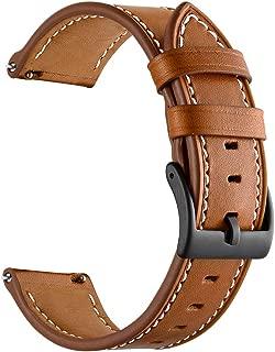 Sum-of-Best for Garmin Vivoactive 3 Watch Band, 20mm Genuine Leather Watch Strap for Garmin Forerunner 645/Forerunner 245/Samsung Galaxy 42mm/Galaxy Watch Active 40mm Smart Watch