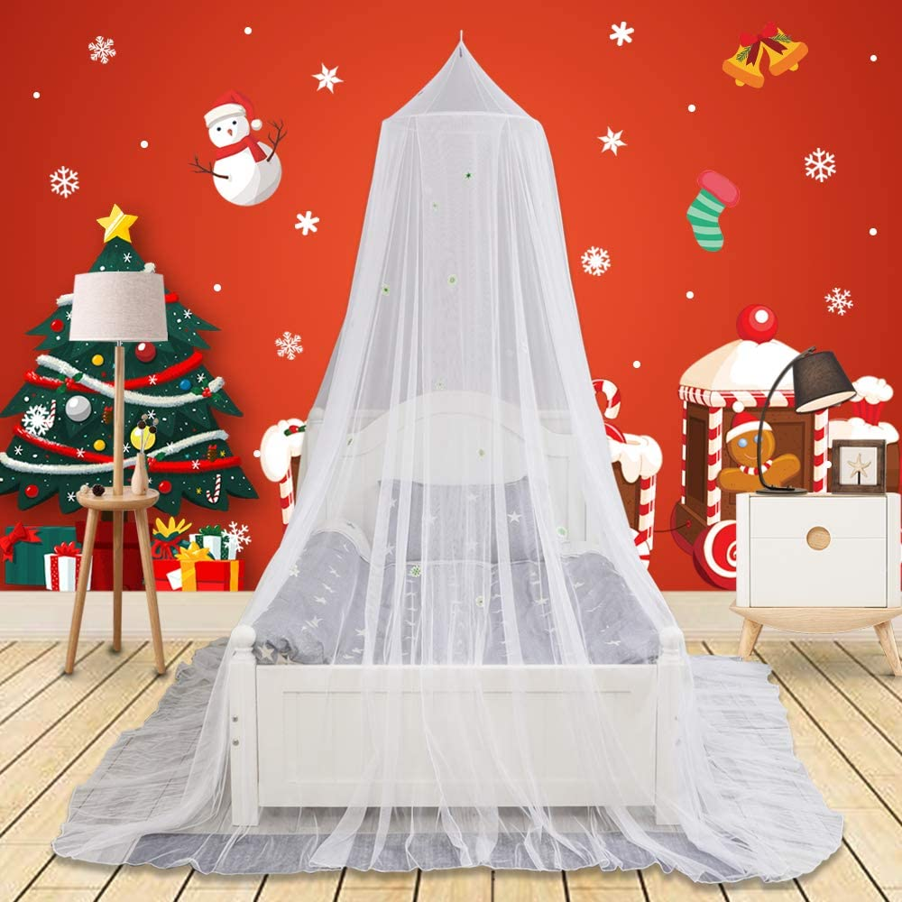 9DragonRock Bed Canopy with Glow in The Dark Snowflower, for Girls, Kids & Babies, Net Use to Cover The Baby Crib, Kid Bed, Girls Bed Or Full Size Bed, Fire Retardant Fabric, White