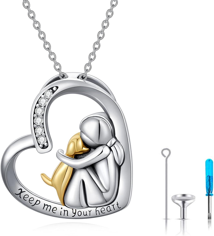 Colgante de ceniza, cadena de plata 925, urnas colgante de corazón, cadena con perro, urnas, recuerdo, regalos para perros y gatos