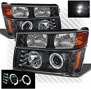 Xtune for 2004-2012 Chevy Colorado/GMC Canyon, 2006-2008 Isuzu I-Series Black Halo Projector Headlights + Bumper Lights w/LED