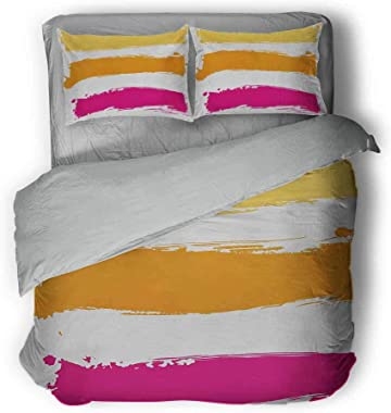 """Orange and Pink High-end Customized Three-Piece Suit Grunge Paint Smear Composition Abstract Banner Design Grey and White Comforter 89""""x89""""inch Fucsia Marigold Pale Yellow"""
