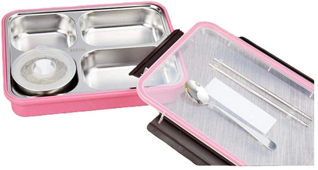 誠意請求ミスペンドランチボックス1 Lポータブル304ステンレス鋼密封防漏型食品コンテナーポリプロピレンPPシェル電子レンジオーブン利用可能、すべての人のサンドイッチボックスに適しています(色:ピンク)