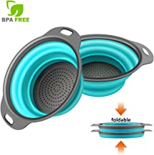 Kitchen Collapsible Colander,Webanker Food-Grade Silicone Strainer Space Saver Folding Strainer Colander, 2 pcs Sizes 8 inches-2 quart and 1 pc 9.5 inches 3 quart Small-2 pcs Blue