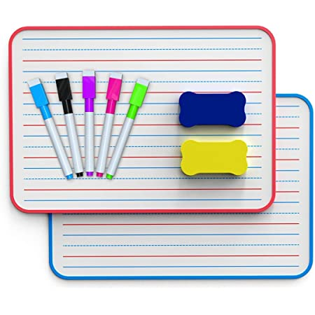 Ruled Dry Erase Lapboard, Double Sided Dry Erase Board, Small Whiteboard for Kids, Dry Erase Board with Lines for Learning Writing (Set of 2)