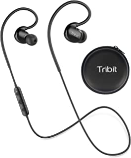Bluetooth Headphones, Tribit XSport Fly Wireless Earphones with Built-in Mic, IPX7 Waterproof, 8 Hours Playtime, Noise Cancelling Sport Headphones for Workout Running Gym - Black