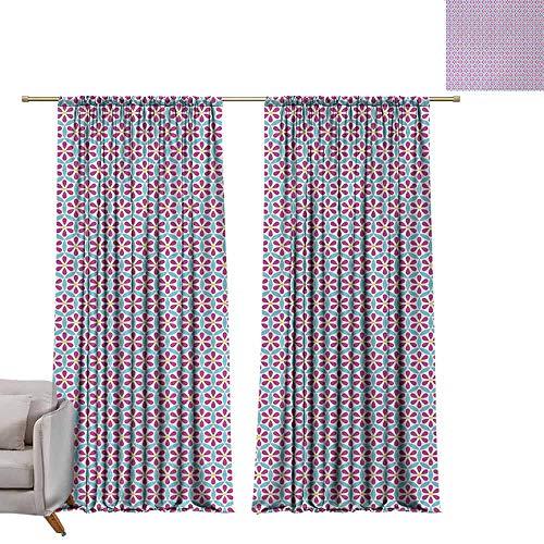 Tr.G Schuifgordijnen, thermische, geïsoleerde lichtblokkerende gordijnen, voor slaapkamerbloemen, met de hand getekend, grafische bloemenprint, natuurlijke inspiratie, vintage Boheemse woning, wit violet