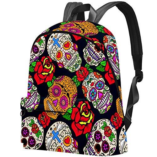 Rucksack, mexikanischer Sugar Skull mit Rose, wasserabweisend, Anti-Diebstahl, für Damen und Mädchen, lässiger Wandern, Reisen, Tagesrucksack