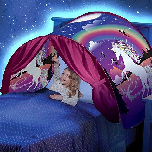 Mumustar Twin Size Pop Up Bed Tents for Boys Girls Double Bed Unicorn Printed Rainbow Moon Night Children Kids Sleeping Wonderland Unicorn Bed Tent (Unicorn Bed Tents for Boys/Girls)