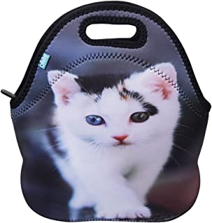 Neoprene Lunch Tote OFEILY Insulated Lunch Bag with Animal Printed (Middle Cat 1)