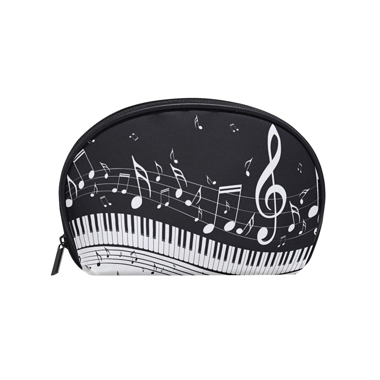 ゴミ箱ナビゲーション時々時々化粧ポーチ 化粧ポッチ 音符柄 ピアノ柄 音楽柄 ブラック バニティーポーチ 化粧袋 収納バッグ トイレタリーバ 旅行出張用 洗面用具 小物入れ